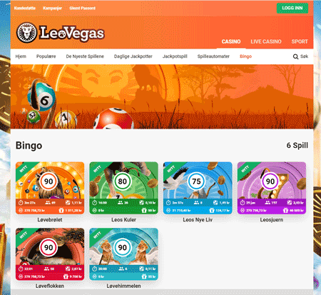 Leo Vegas Bingo skjermbilde
